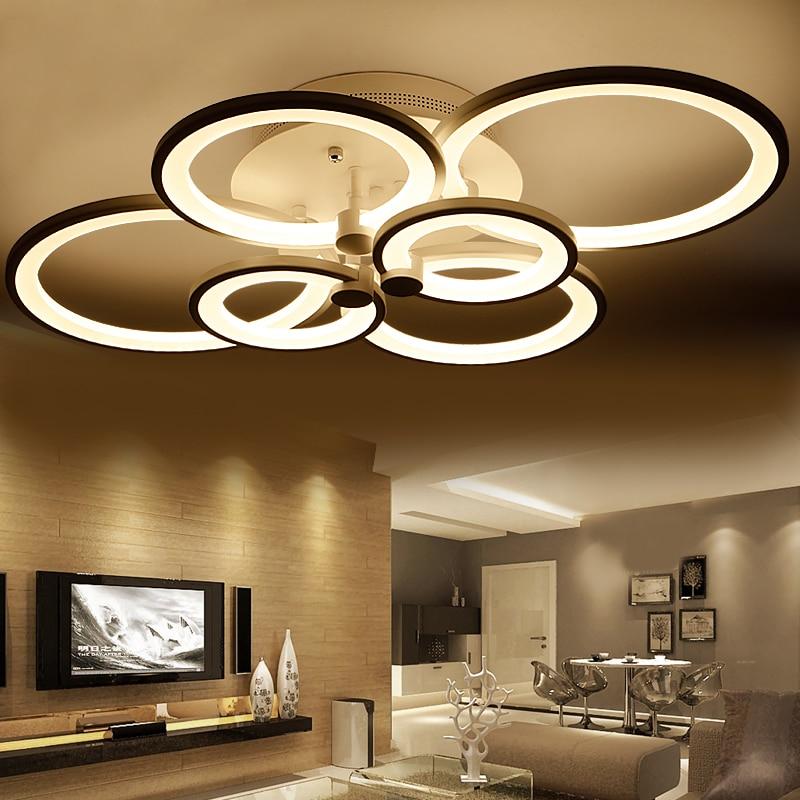 Luxury Modern Chandelier Led Circle Ring Chandelier Light: Rings White Finished Chandeliers LED Circle Modern