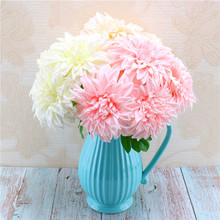High-grade silk flower simulation 5 head dahlia bunches photography props wedding bride bouquets home decoration fake flowers