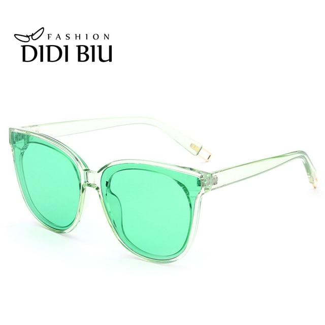 Óculos De Sol Das Mulheres Marca De Luxo Doce Cor transparente Verde Azul  Óculos de Lente e885bb0f67