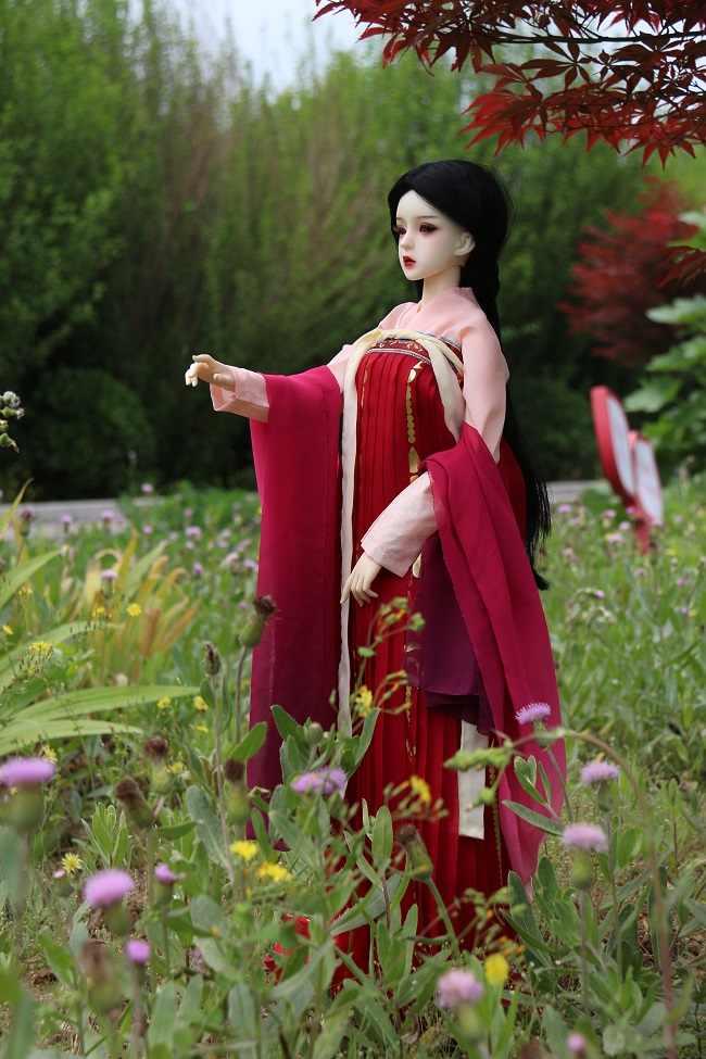 3 adet/takım Nefis Bebek Giyim Kırmızı Çin tarzı antika Pembe Tops + kırmızı Pilili Etek + ipek tippet için 1/3 1/4 1/6 BJD Bebek