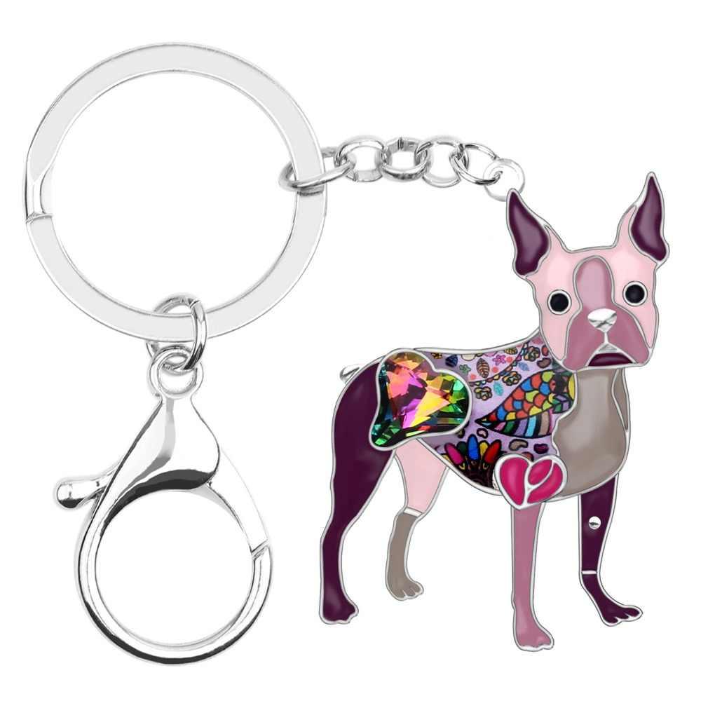 Bonsny Esmalte Liga Strass Cristal Boston Terrier Dog Chaveiro Chaveiro Titular Saco Encantos Animais Jóias Para Mulheres Meninas