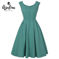 AZULINA50s 60s Vintage Women Retro Casual Dress Sleeveless O Neck Button Female A Line Green Summer
