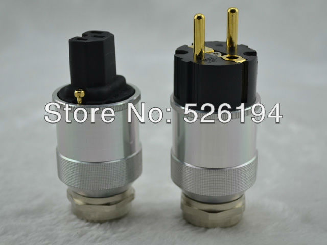Free shipping one pair 24K Gold plated EUR schuko power plug connectors for DIY power cable free shipping one pair viborg krell schuko version 24k gold plated audio power plug for audio power wire