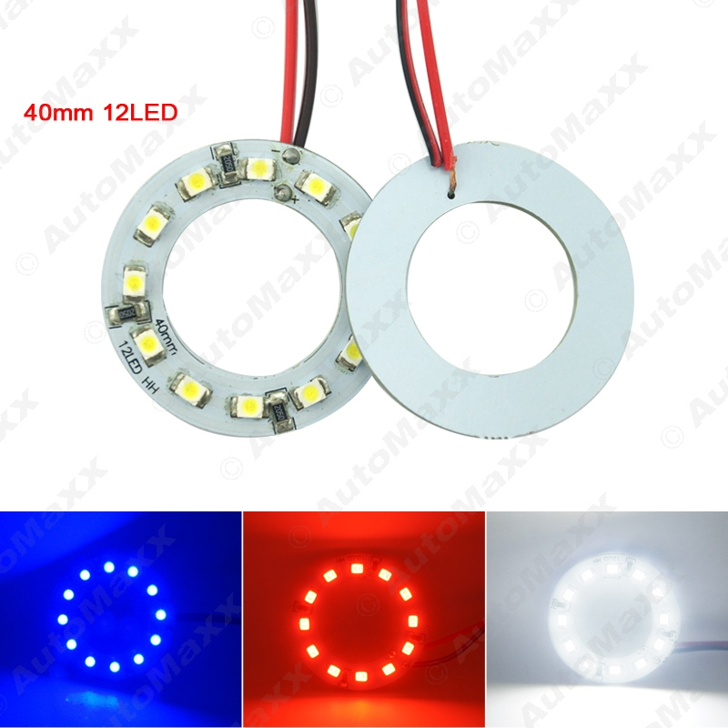 2pcs/lot 40mm Car Angel Eyes 1210/3528 12SMD LED Headlight Halo Ring Angel Eye Lighting White Red Blue#J-2666