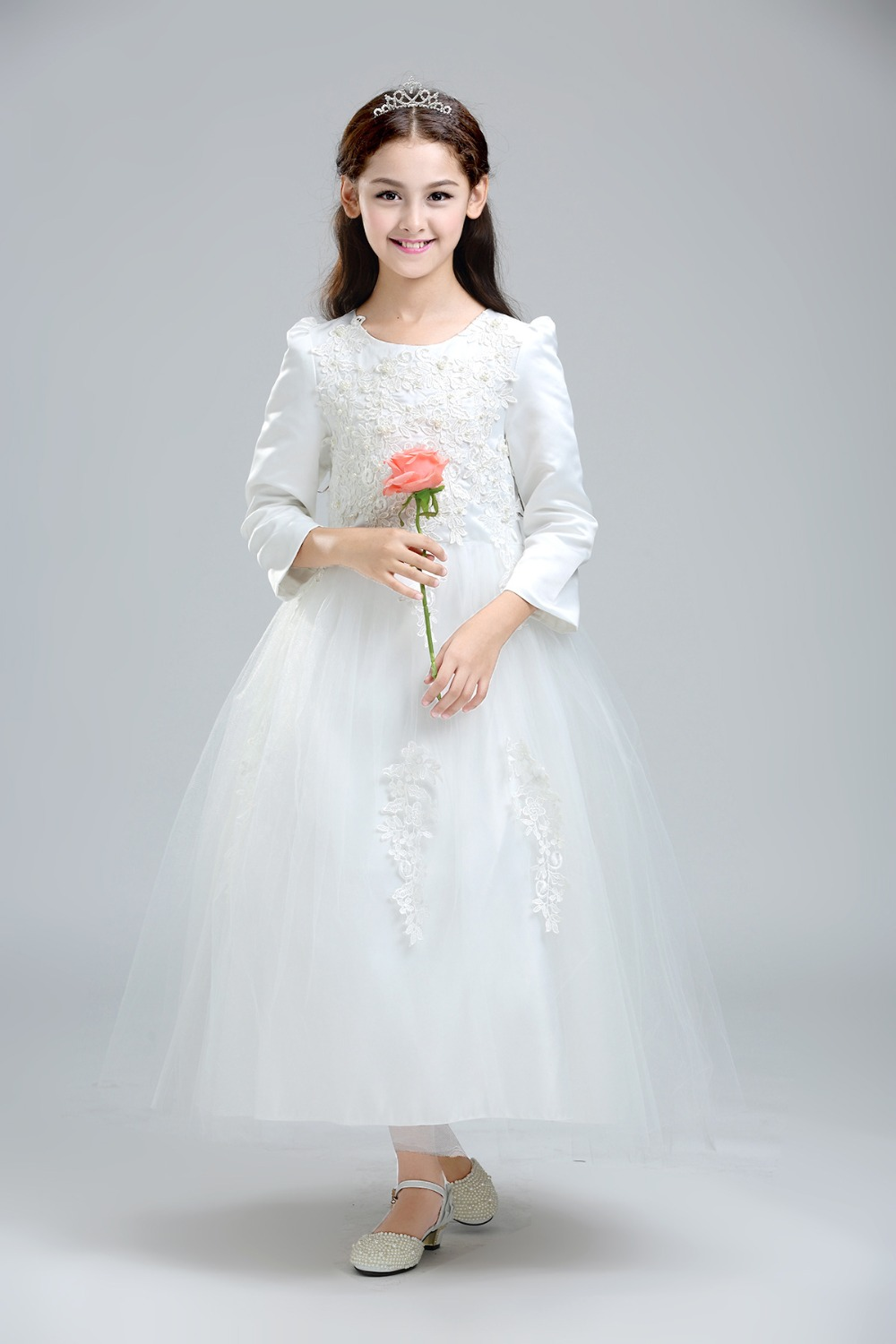 White Lace Children Wedding <font><b>Dress</b></font> For Teenage Long-Sleeve Girls Clothing Sequin Ankle-Length Princess <font><b>Dress</b></font> <font><b>Kids</b></font> <font><b>Cocktail</b></font> <font><b>Dress</b></font> image