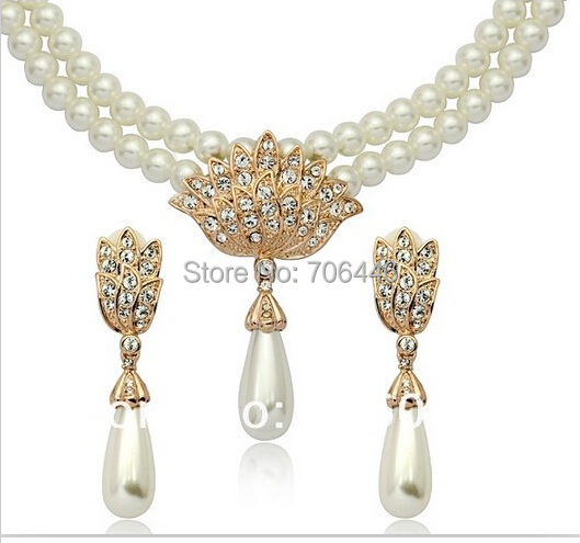 Rose Gold Bridal Jewelry Sets Cream Faux Pearl Rhinestone Crystal - Fashion Jewelry - Photo 5