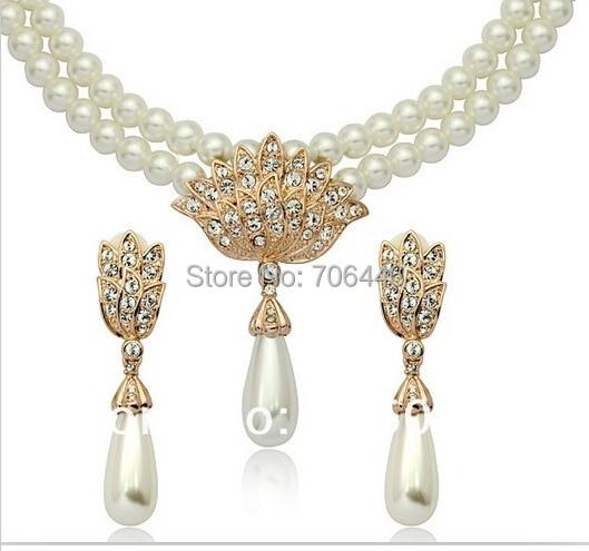 Rose Gold Bridal Jewelry Set Cream Faux Pearl Rhinestone Crystal - Perhiasan fashion - Foto 5