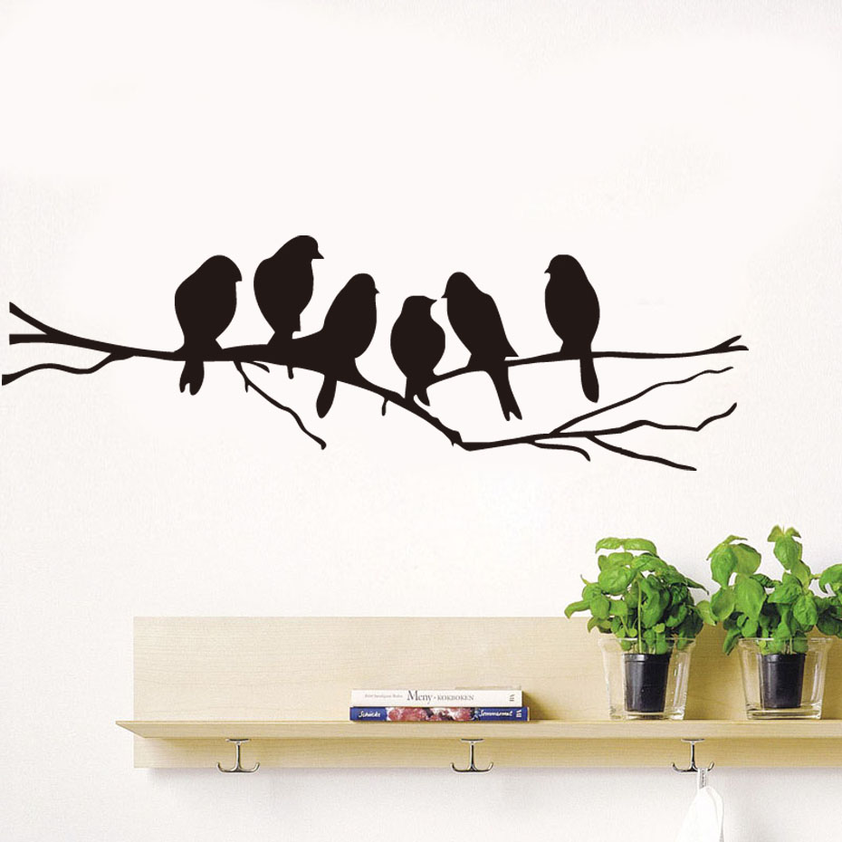 Dctop removable black birds tree branch vinyl wall for Decal wall art mural