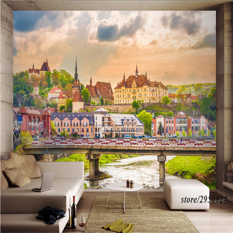 Custom Large Wall Murals Romanian City Landscape 3d-Room-Wallpaper Environment Friendly Non-Woven Embossed TV Background Kitchen customize photo wallpaper murals slovenia lake 3d embossed wallpaper environment friendly tv background wall paper for kids room