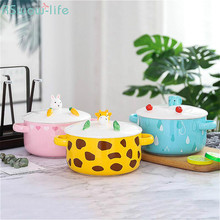 Korean-Style Cute Cartoon Animal Ceramic Lunch Box Microwave Ovenl Instant Noodle Cup Bowl Double Double-Ear Tableware Supplies