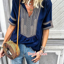 Fashion Top Tee T Shirt Women Bohemian Loose and Comfortable