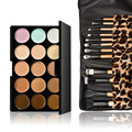 15 Colors Contour Face Cream Makeup Concealer Palette + 12pcs Leopard Make Up Brushes With Bag Toiletry Kit