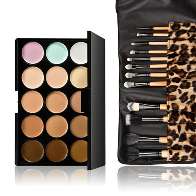 15 Colors Contour Face Cream Makeup Concealer Palette + 12pcs Leopard Make Up Brushes With Bag Toiletry Kit