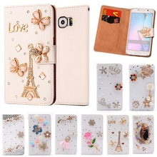 S6 edge Wallet Flip PU Leather Diamond Eiffel Bowknot Flower Smart Stand Cover For SAMSUNG GALAXY