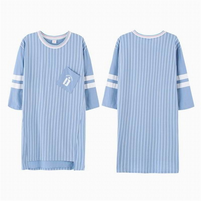 Sleepwear For Couples Summer Cotton Stripe Sleep Nightgowns Men And Women Pyjamas