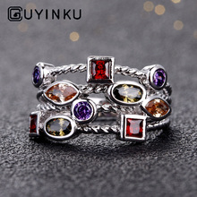 GUYINKU New Arrival 925 Sterling Silver Finger Ring With Rainbow Topaz Vintage Rings For Women Engagement Jewelry S925 Gifts guyinku oval created mystic topaz rings rainbow colorful gemstone 925 sterling jewelry for women engagement rings gift