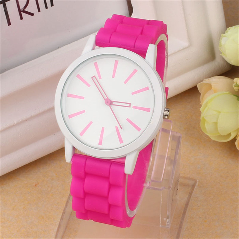 Luxury Women Watch Silicone Rubber Unisex Quartz Analog Sports Women Fashion Wrist Hot Pink For Lovely Girls #4m14 (3)