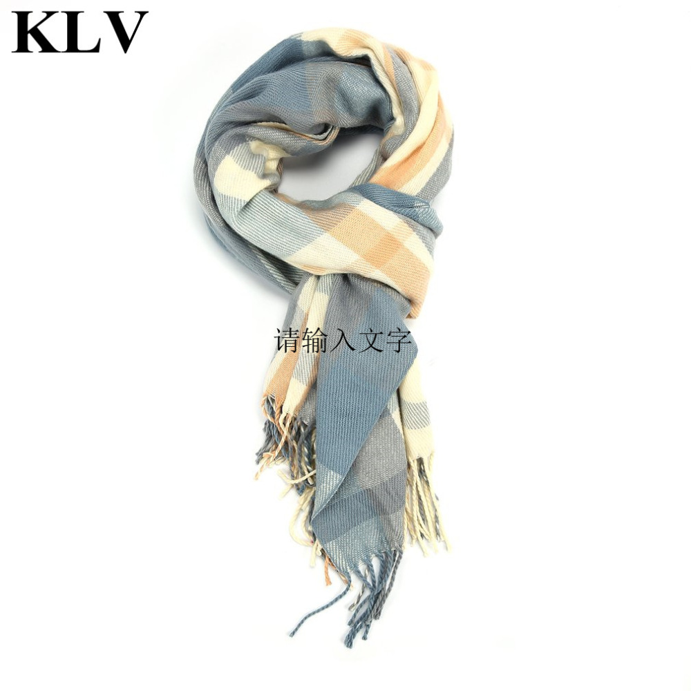 KLV New Winter Women Scarves Luxury Brand Scarf Rectangle Plaid Warm Cashmere Shawls Large Blanket Wraps 172*70cm Free Shipping
