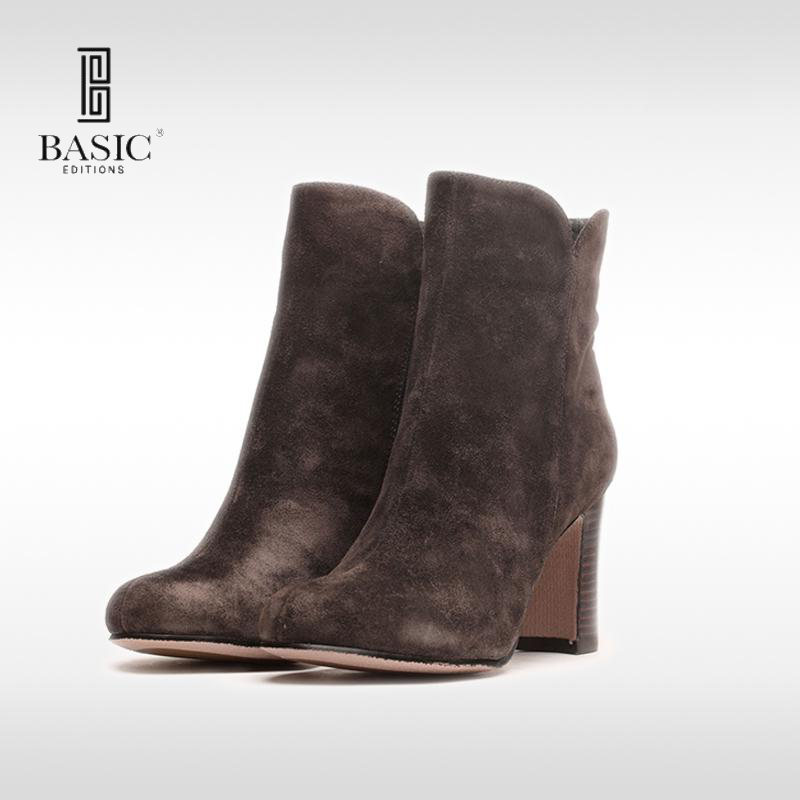 Basic Editions Women WInter Suede Leather Zipper Fashion Ankle Boots - 4065B-45 туфли basic editions туфли