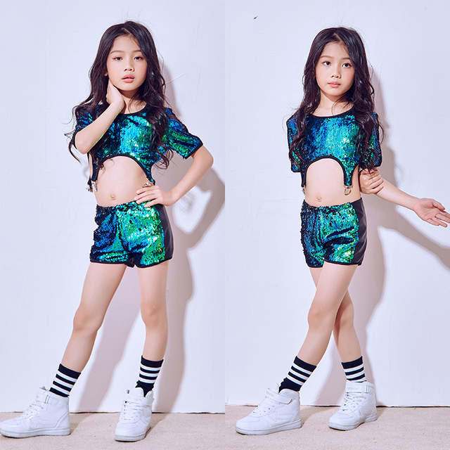 f8fa77a00a59 2018 Hip Hop Dance Costume Kids Girls Jazz Suit Short Sleeve Sequin ...