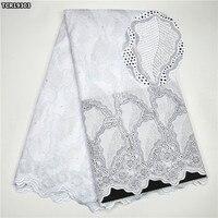 TCR193 Branco tecido de renda Nigeriano Africano Suíço voile lace tecido de alta qualidade de algodão Suíço laço de tecido para o vestido de festa de casamento