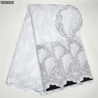 TCR193 White lace fabric African Swiss voile lace fabric high quality Nigerian cotton Swiss lace fabric for wedding party dress