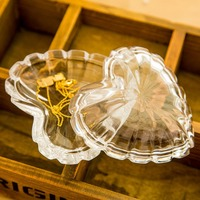 1Pcs New KEYAMA Wholesale Crystal glass heart-shaped sculpture jewelry boxes Storage boxes Gift Dressing table decoration