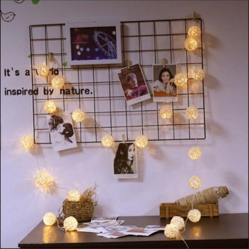 1.5m 10LED Rattan Ball LED Lighting String Garland Fairy Lights Wedding/Xmas/Halloween Party Lamp Decor Girl Bedroom Decor