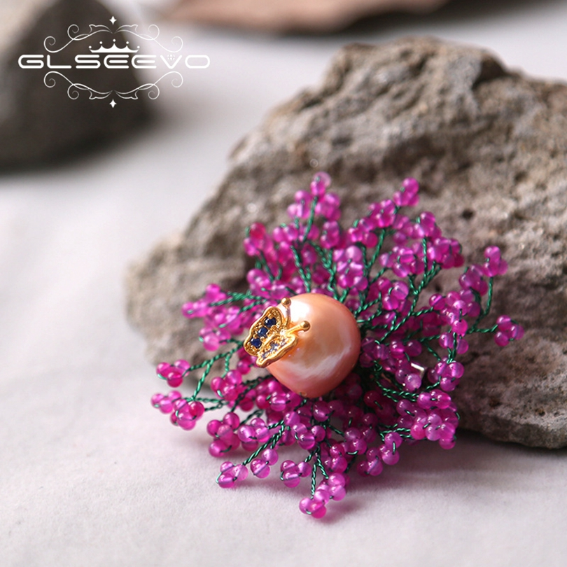 GLSEEVO Natural Fresh Water Pearl Jade Butterfly Brooch Pins And Brooches For Women Gift Dual Use Luxury Fine Jewelry GO0186 glseevo natural rhodochrosite fresh water pearl leaf brooch pins and brooches for women gift dual use luxury fine jewelry go0185