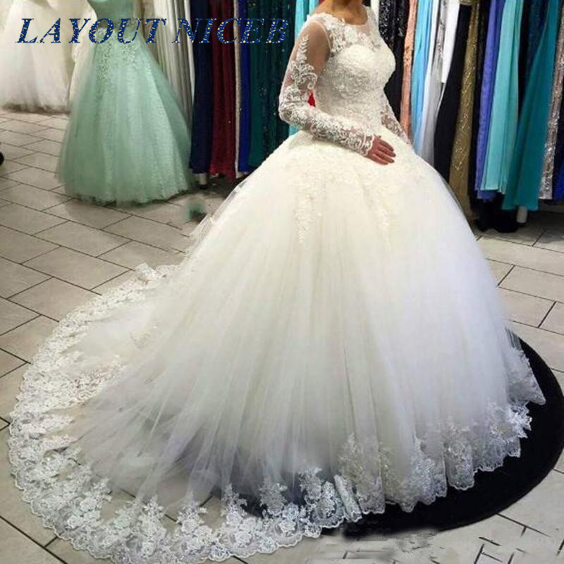 Cheap vestido de noiva Illusion Ball Gown Wedding Dresses 2019 Long Sleeve Wedding Gown Lace Appliques Robe de Mariee Casamento