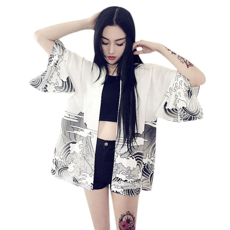Y Otoño Kimono Viento Japonés Vintage Ropa Cardigan Harajuku Olas Dragón Negro Estilo Blusa Mujeres blanco Impresión Verano wx0I0AWqO