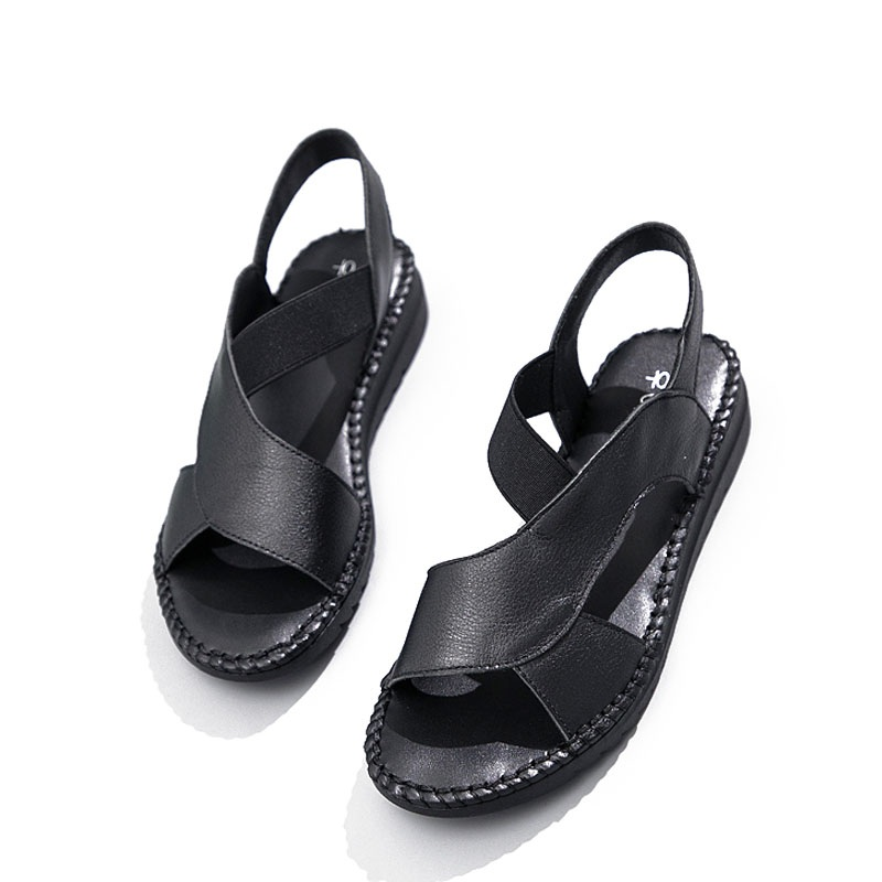 Image 4 - DRKANOL Genuine Leather Sandals Women Flat Gladiator Sandals Women Summer Shoes Handmade Slip On Open Toe Sandals Female BlackLow Heels   -