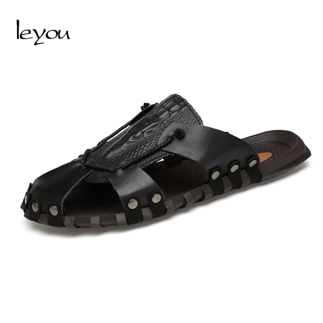 b4bba9722 Leyou Men Leather Slippers Summer Flat Sandals Crocodile Slippers New Flip  Flops Homens Closed Toe Slippers Outdoor
