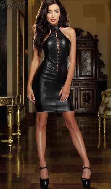 2018 New Tight-fitting Sexy Mini Dress Slim Wet Look Fetish Bondage Vinyl d9080e20711a