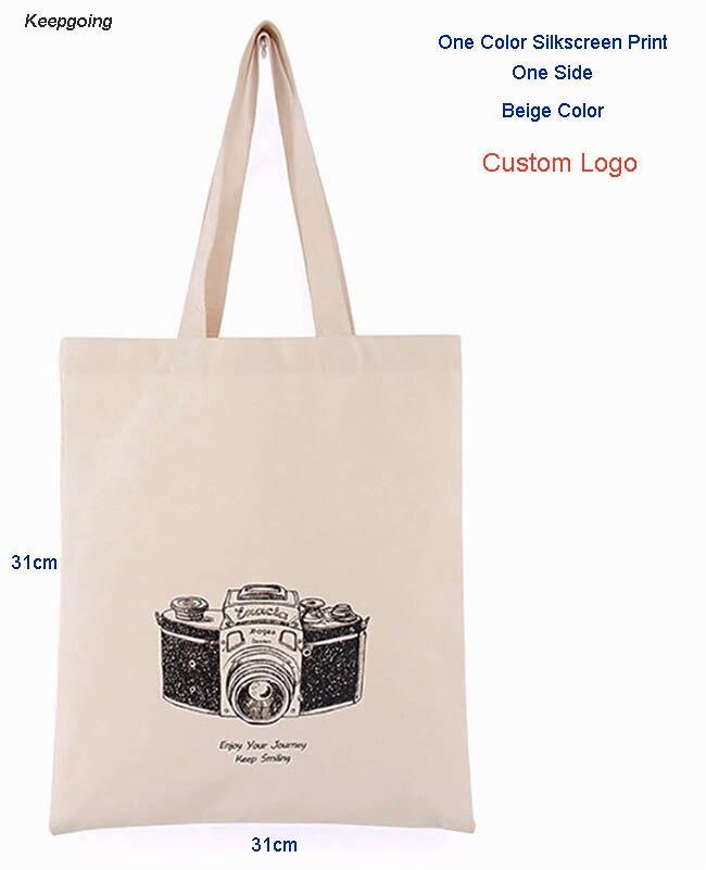 100 pcs/lot Customized Logo Canvas Bag  Environmental Protection Tote Washable Natural Shopping