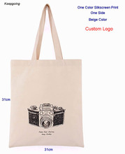 100 pcs/lot Customized Logo Canvas Bag  Environmental Protection Tote Washable Natural Shopping
