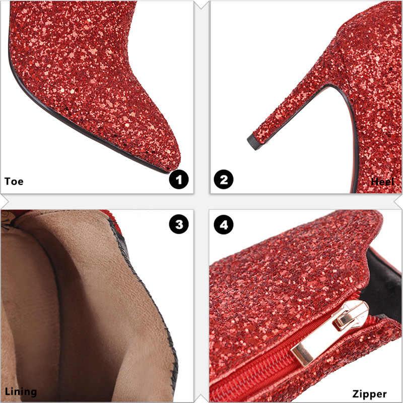 WETKISS 2019 Bling Payetli çizmeler Kadın Ayakkabı Büyük Boy Kadın Yüksek Topuklu yarım çizmeler Sivri Burun Fermuar Moda Altın Çizmeler