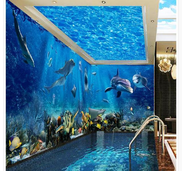 3d ceiling murals wallpaper Ocean World 3D stereoscopic theme