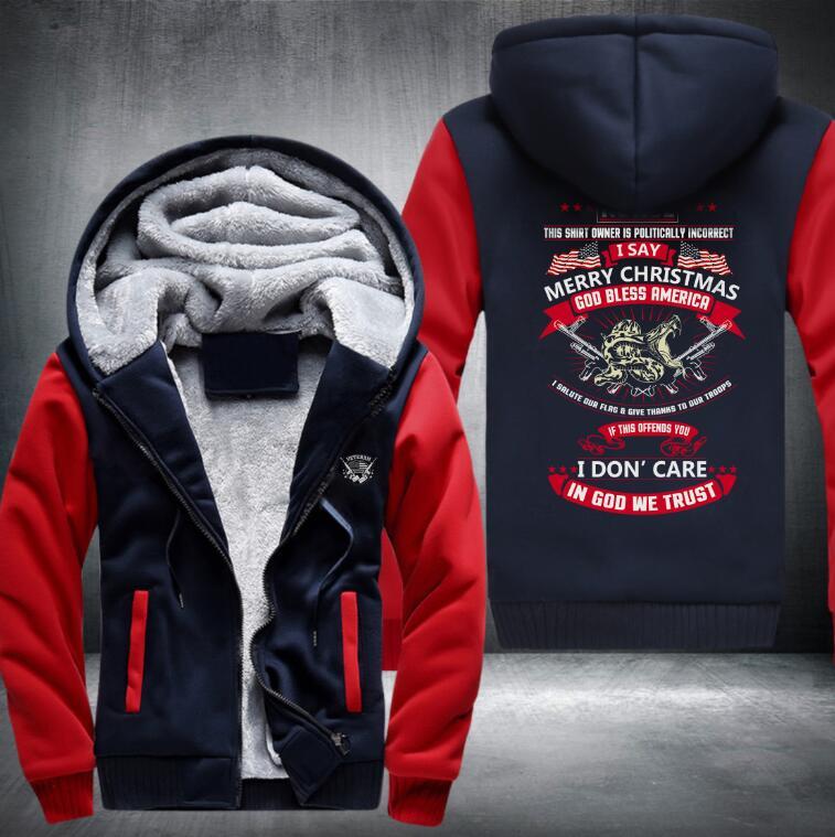 Merry christmas god trust Thicken Hoodie  Zipper Coat Jacket Sweatshirt  Costume Plusmen hoodies streetwear men 7 colors