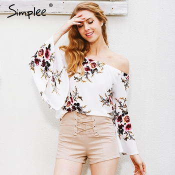 Simplee Off shoulder chiffon blouse