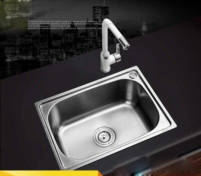(450X390x200mm) évier de cuisine Simple en acier inoxydable 304 Set Simple fente plat bassin avec bonde de vidange robinet peint en blanc