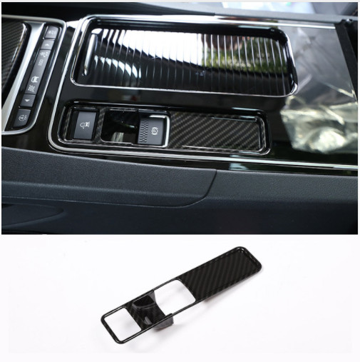 Carbon Fiber Style Interior Electronic Handbrake Switch Button Decoration Frame For Jaguar XFL XE F Pace