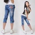 2016 primavera ropa infantil de verano niño causal thin girls denim shorts para niñas grandes recortada pantalones vaqueros cortos