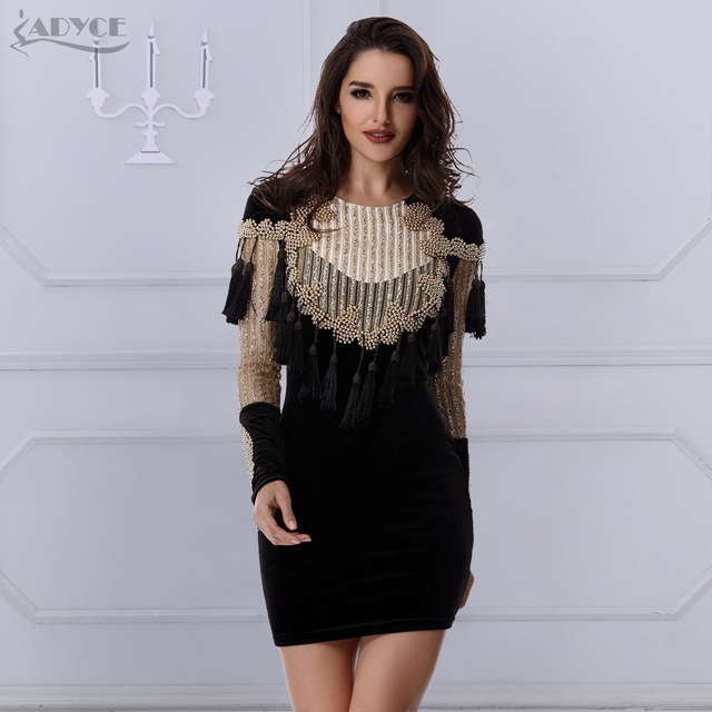 2018 new Celebrity Runway Velvet Dress Gold Black Gorgeous Beading Tassels sequins  Long Sleeve mesh Women Bodycon Party Dresses 6942d5803375