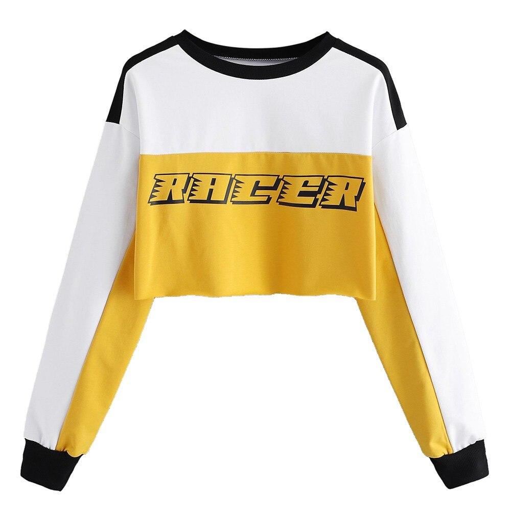 Womens Letter Print Color Block Long Sleeve Crop Top Hoodies Pullover Sweatshirt Blouse Car Electronics Accessories
