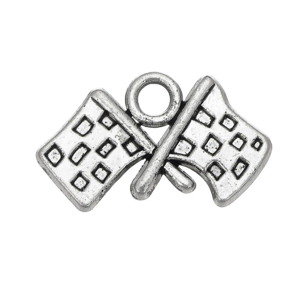 my shape Tibetan Silver Plated Check Flag Pendant Charm 60pcs