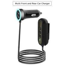 멀티 5 포트 자동차 충전기 화웨이 삼성 태블릿 뒷좌석 빠른 자동차 충전기 5.8A 범용 Usb 연장 케이블 자동차 어댑터