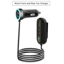 Cargador de coche con 5 puertos para Huawei y Samsung, Cable de extensión Usb Universal, adaptador de coche, Cargador rápido para asiento trasero, 5.8A