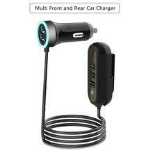 Multi 5 Porte Caricabatteria Da Auto Per Huawei Samsung Tablet sedile posteriore veloce caricabatteria da auto 5.8A Universale Usb Auto Cavo di Prolunga adattatore