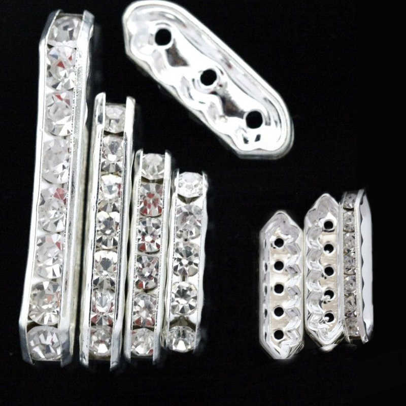 20pcs 3 5 Holes Sliver Color Rhinestone Crystal Spacer Bars Beads For Jewelry Findings Diy Multilayer Bracelet 13 20 27 35 mm